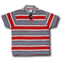 BROOKLYN  Soft Jersey Striped Polo with pocket RED/BLUE/IVORY 4XL