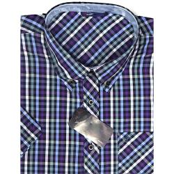 ESPIONAGE Short Sleeve Check Shirt with Chest Pocket NAVY/BLUE/PURPLE 3-8XL