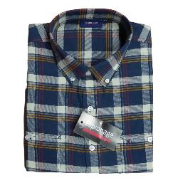 ESPIONAGE BRUSHED COTTON  LONG SLEEVE CHECK SHIRT  NAVY MULTI  2 - 8XL
