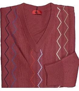 GABICCI Patterned Vee neck Sweater FIRED EARTH