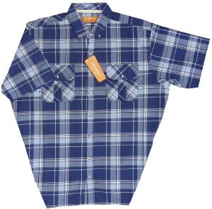 BROOKLYN Natural Cotton Check shirt with twin chest pockets NAVY
