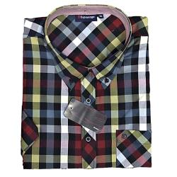 SALE - ESPIONAGE Short Sleeve Check Shirt NAVY/RED/GOLD 6 - 7XL
