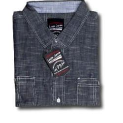 LOUIE JAMES Fine Woven Summer shirt with twin chest pockets NAVY