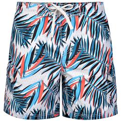 KAM MULTI COLOURED LEAF PRINT SWIM SHORT WITH CARGO POCKET  2 - 8XL
