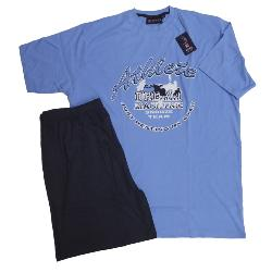 KINGS CLUB BIG MENS COTTON SHORTY PJ SET 'DREAM TEAM' BLUE  2 - 8XL