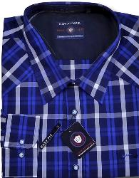 SALE - Long Sleeve Casual Check Shirt   NAVY/BLUE 3XL