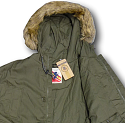 ESPIONAGE Fishtail Parker with Fur Trim Hood GREEN 3XL