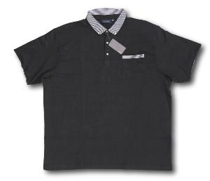 ESPIONAGE  Jersey Polo shirt with Button down stripe collar BLACK