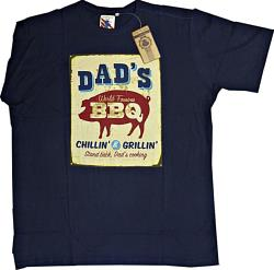 ESPIONAGE Quality Cotton Printed Crew Tee DAD'S BARBECUE NAVY 2 - 8XL