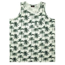 ESPIONAGE PALM PRINT COTTON VEST WITH CHEST POCKET MARL GREY