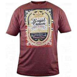 D555 Tee 'ROYAL CROWN BEER'  - BURGUNDY MELANGE 4 - 5XL