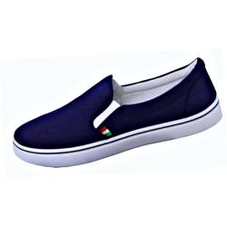 SALE - D555 Canvas Plimsoll Slip on Pump with Side Elastic NAVY ALDRICH 14 UK