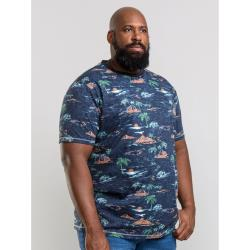 D555  BIG MENS ALL OVER HAWAIIAN PRINT  TEE   CHESTER NAVY MARL  3 - 6XL