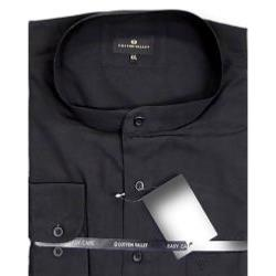 COTTON VALLEY Classic Shirt with Grandad Collar Long Sleeve BLACK