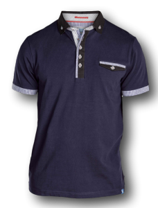 D555 Fashion Stretch Polo with woven collar ROLAND NAVY