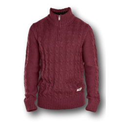 D555 Zipper neck Cable knit Sweater CORWIN WINE