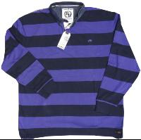 RAGING BULL Long Sleeve Striped First XV Rugby Shirt  NAVY/PURPLE 6XL