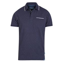 D555  ROGERS PURE COTTON POLO WITH ALL OVER PRINT AND CHEST POCKET  NAVY/WHITE  3 - 6XL