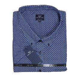 SALE - COTTON VALLEY  PRINTED SHORT SLEEVE  SHIRT NAVY/BLUE 8XL