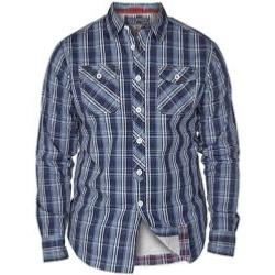 D555 Long Sleeve Jersey Lined Casual Check shirt KONA NAVY/BLUE
