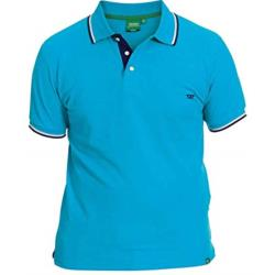 SALE - D555 PIQUE POLO WITH CONTRAST TIPPED COLLAR RACER SKY BLUE  6 - 8XL