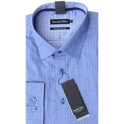 "DOUBLE TWO  PURE COTTON LONG SLEEVE WOVEN SHIRT BLUE 19 - 23"" COLLAR / 3 - 7XL"