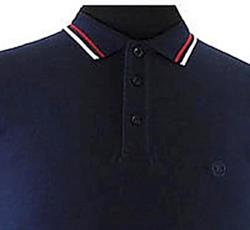 ESPIONAGE COTTON POLO SHIRT with Tipped Detail NAVY 2 - 8XL