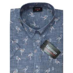 ESPIONAGE Short Sleeve Flamingo Print Cotton Shirt Denim