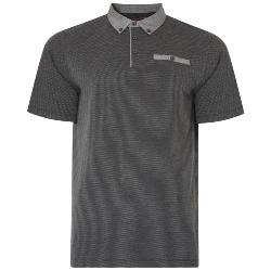 KAM DOBBY EMBOSSED FASHION POLO SHIRT WITH POCKET CHARCOAL  2 - 8XL
