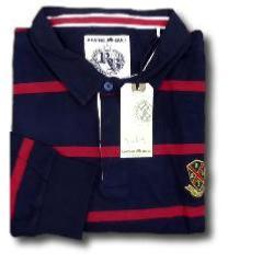 RAGING BULL Long Sleeve Crest Stripe Rugby Shirt  NAVY 6XL