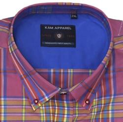 KAM Cotton Twill Check Short Sleeve Shirt  with Chest Pocket PEACH 2 - 8XL