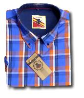 ESPIONAGE Jean Check Casual Short Sleeve Shirt ROYAL/ORANGE