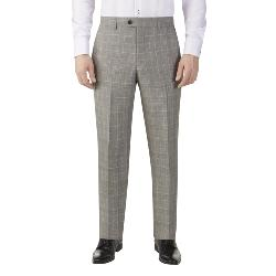 SKOPES LUXURY FINE WOOL CHECK TROUSERS GREY/ LILAC WINDOWPANE MAZARA