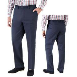 SKOPES Peached Cotton Casual Chinos with Active Stretch Waist NAVY 46 - 60""