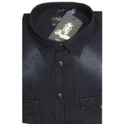 REPLIKA JEANS Faded Black Denim Shirt  with twin chest pockets