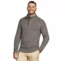 RAGING BULL KNITS - Salt and Pepper 3 Button opening Chunky  Casual Lambswool Knit CHARCOAL  3 - 4XL