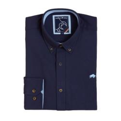 RAGING BULL SIGNATURE COTTON OXFORD LONG SLEEVE  SHIRT NAVY 3 - 6XL