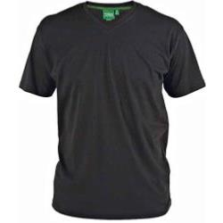 D555 Signature Combed Cotton VEE Neck T-Shirt BLACK 3 - 6XL