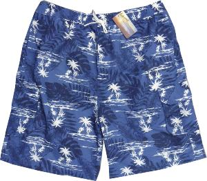 ESPIONAGE Casual Swim shorts with Cargo Pocket  HAWAIIAN PRINT BLUE 8XL
