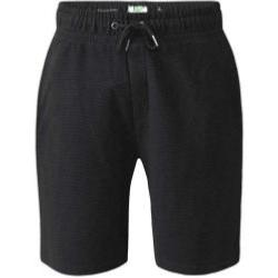 D555 Ribbed Fleece Shorts with Elasticated waist and drawcord BLACK