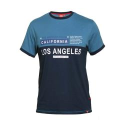 D555 CUT AND SEWN RINGER PRINT TEE SHIRT LOS ANGELES JACKSON NAVY/TEAL 3 - 6XL