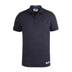 D555 COTTON JERSEY POLO WITH ALL OVER PRINT NAVY AUCKLAND  3 - 6XL
