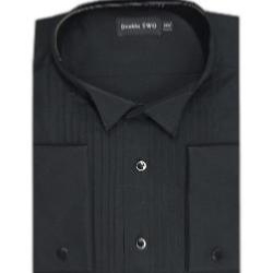 DOUBLE TWO Dress Shirt  WING COLLAR BLACK
