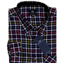 COTTON VALLEY Brushed Check  Shirt with Corded elbow patches NAVY 4XL