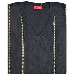 SALE - GABICCI Classically Styled Designer  Vee neck Sweater BLACK/GOLD 3 - 4XL