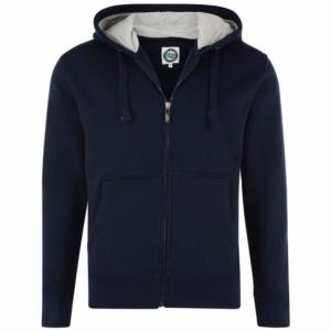 KAM  King Size Cotton rich Full Zip Hoodie NAVY