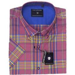 SALE - KAM Cotton Twill Check Short Sleeve Shirt  with Chest Pocket PEACH 2 - 6XL