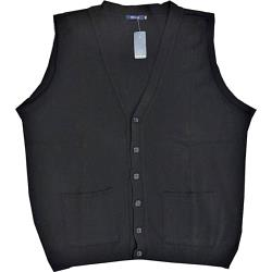 INVICTA Big Mens Acrylic Knitted Button through Waistcoat BLACK 2 - 8XL