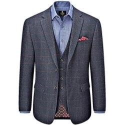 SKOPES  HERITAGE COLLECTION  WOOL BLEND CHECK JACKET NAVY BURNS