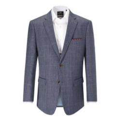 SKOPES  Linen/Wool Herringbone Check Jacket - ANDREW BLUE